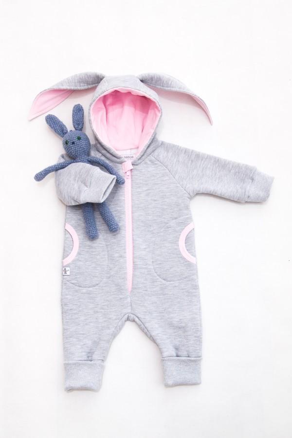 Grey Pink Baby Bunny