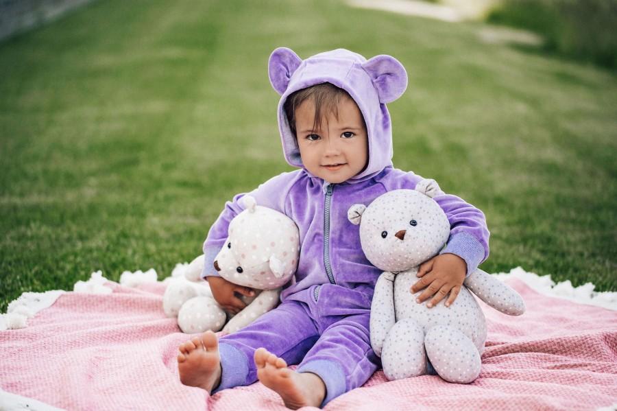 Purple Velour Bear