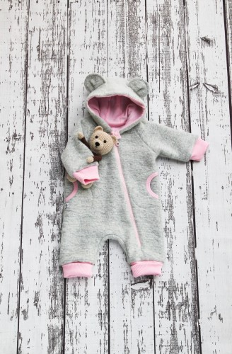 Light Grey Wool Baby Bear - Pink